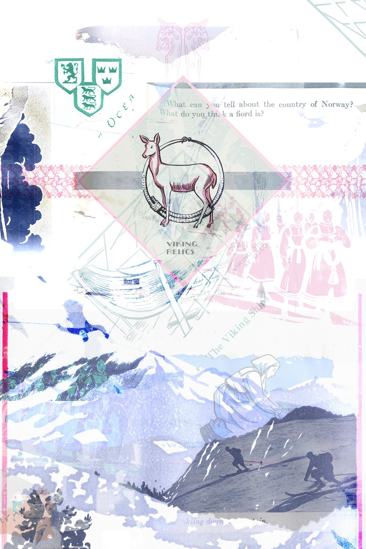 collage graphic design  photomanipulation textbook Beautiful mountains swiss Scandinavia culture juxtaposition