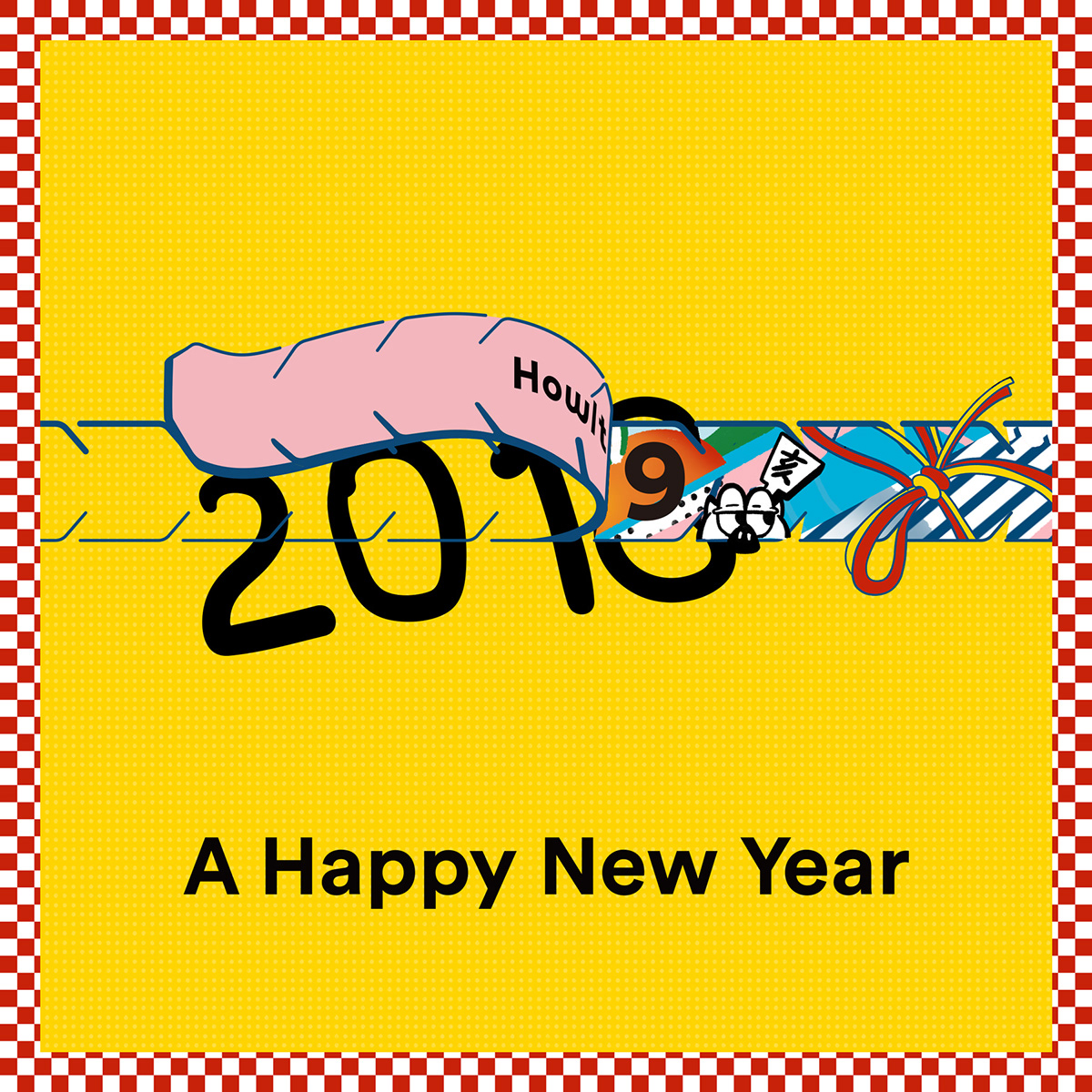 New Year Card happy new year celebrate Congrats wild boar zodiac year 2019 ILLUSTRATION  graphic loworks