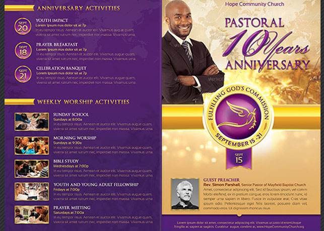 church anniversary program cover template on behance