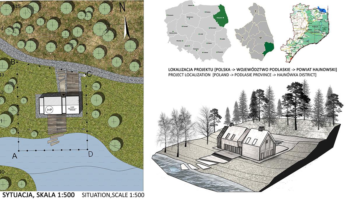 house 3D visualization CG design village eco modern wood forest