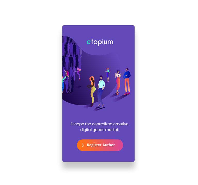 Ilustrace lidí jako hlavní prezentace aplikace.