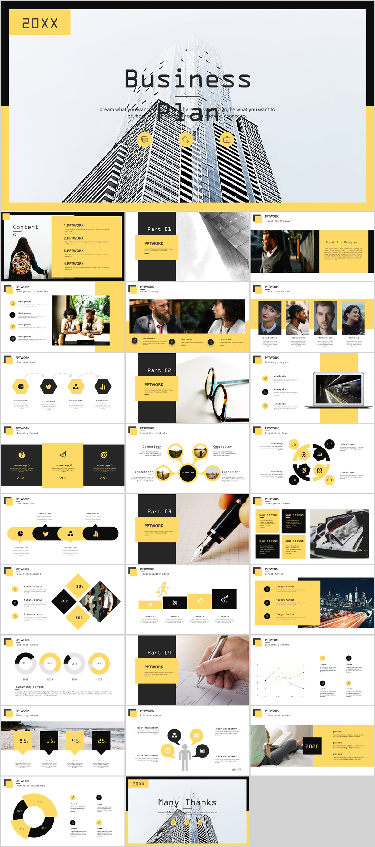 27 Yellow Business Plan Report Powerpoint Template On Behance
