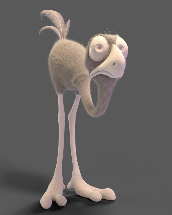 cartoon Character stylized bird ostrich personagem funny feather Fur Xgen