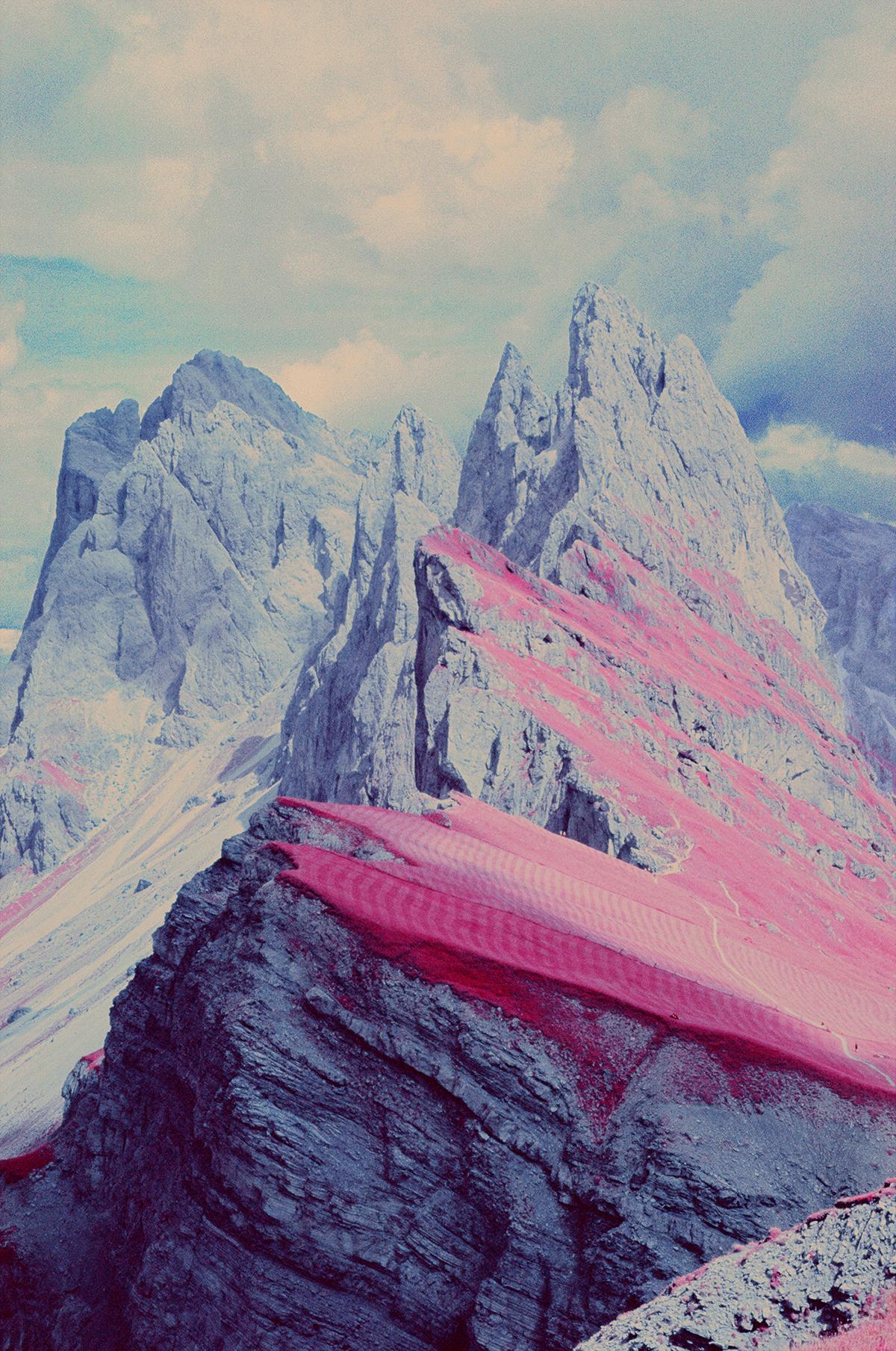 infrared dolomites analog Film   Aerochrome Dolomiti 35mm mountain Landscape surrealistic