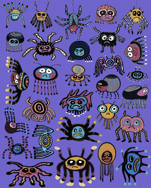 snails spiders Character characterdesign colorful Fun children'sbook digitalart photoshop ILLUSTRATION