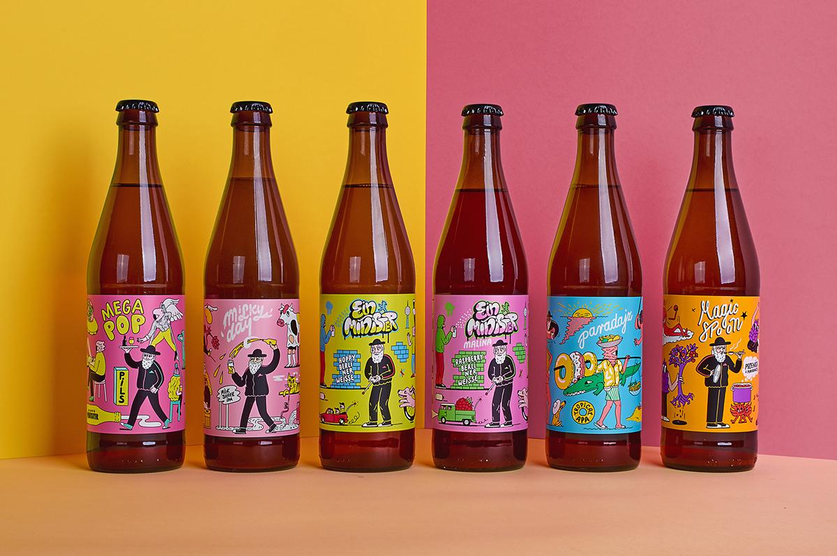 craft beer Label beer minister bottle package design  graphic design  Packaging craft ILLUSTRATION