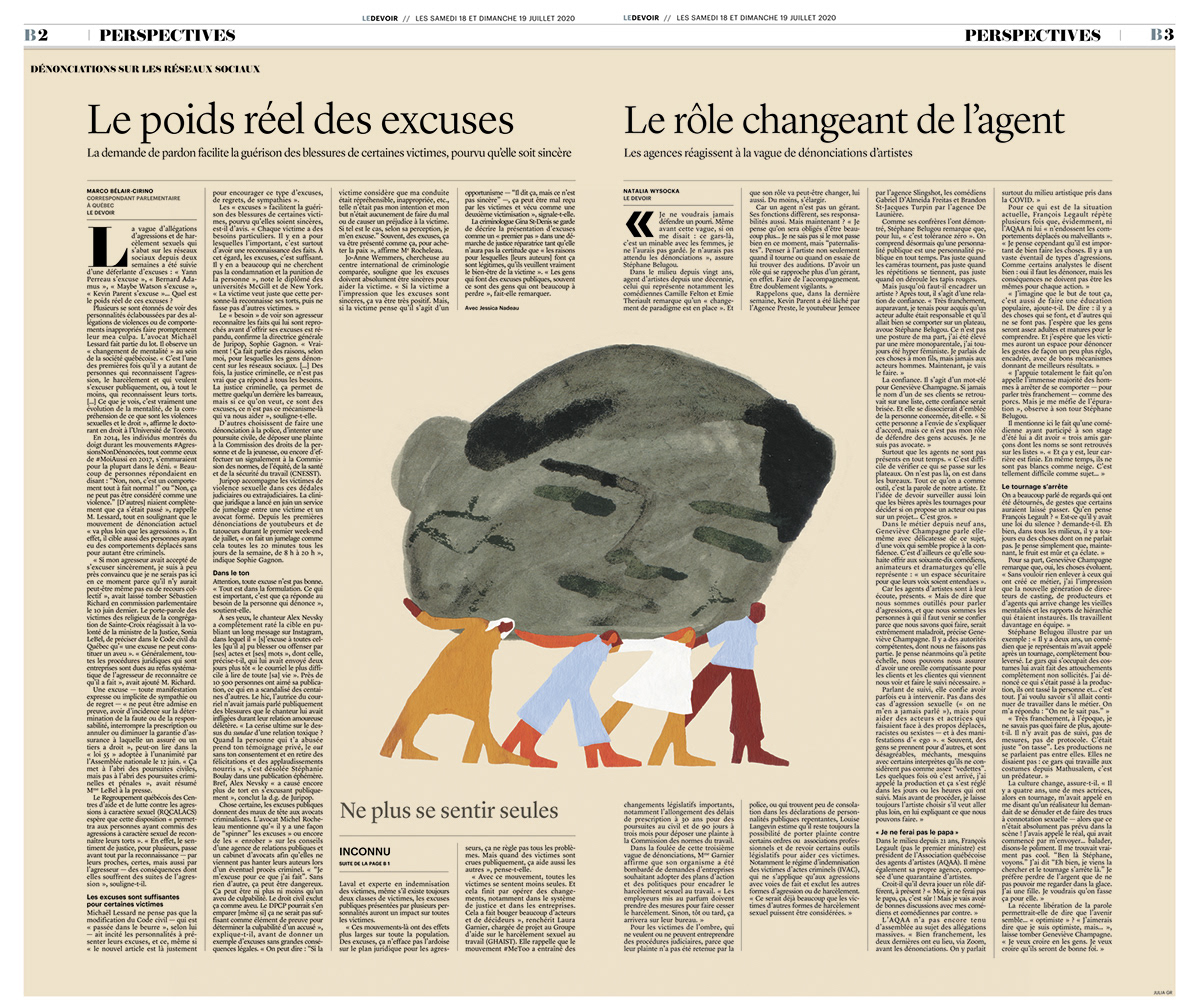 editorial feminist ILLUSTRATION  le devoir Me Too social medias women gouache painting