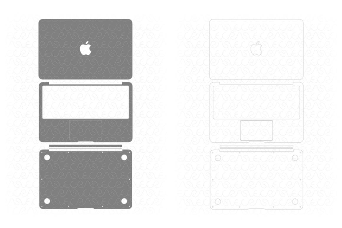 Macbook pro 13 retina skin template for cutting or machining.