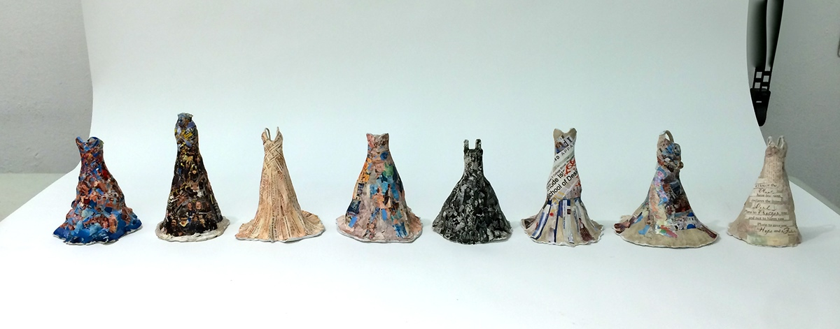 self collage pictures ceramics  dresses pattern print risd