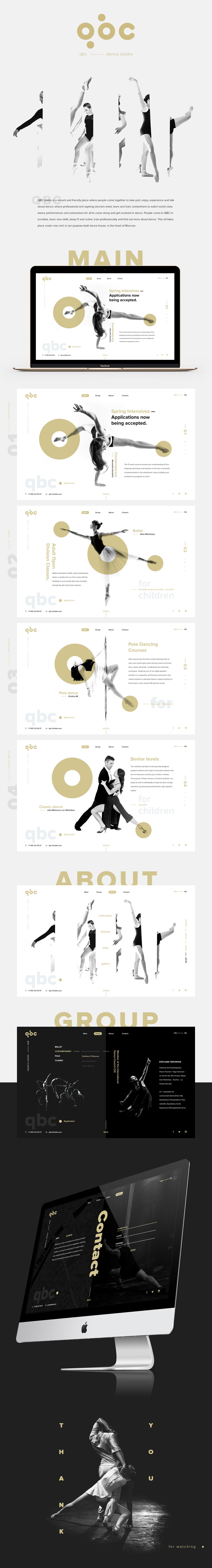 Web Website promo minimal black White DANCE   gold studio concept