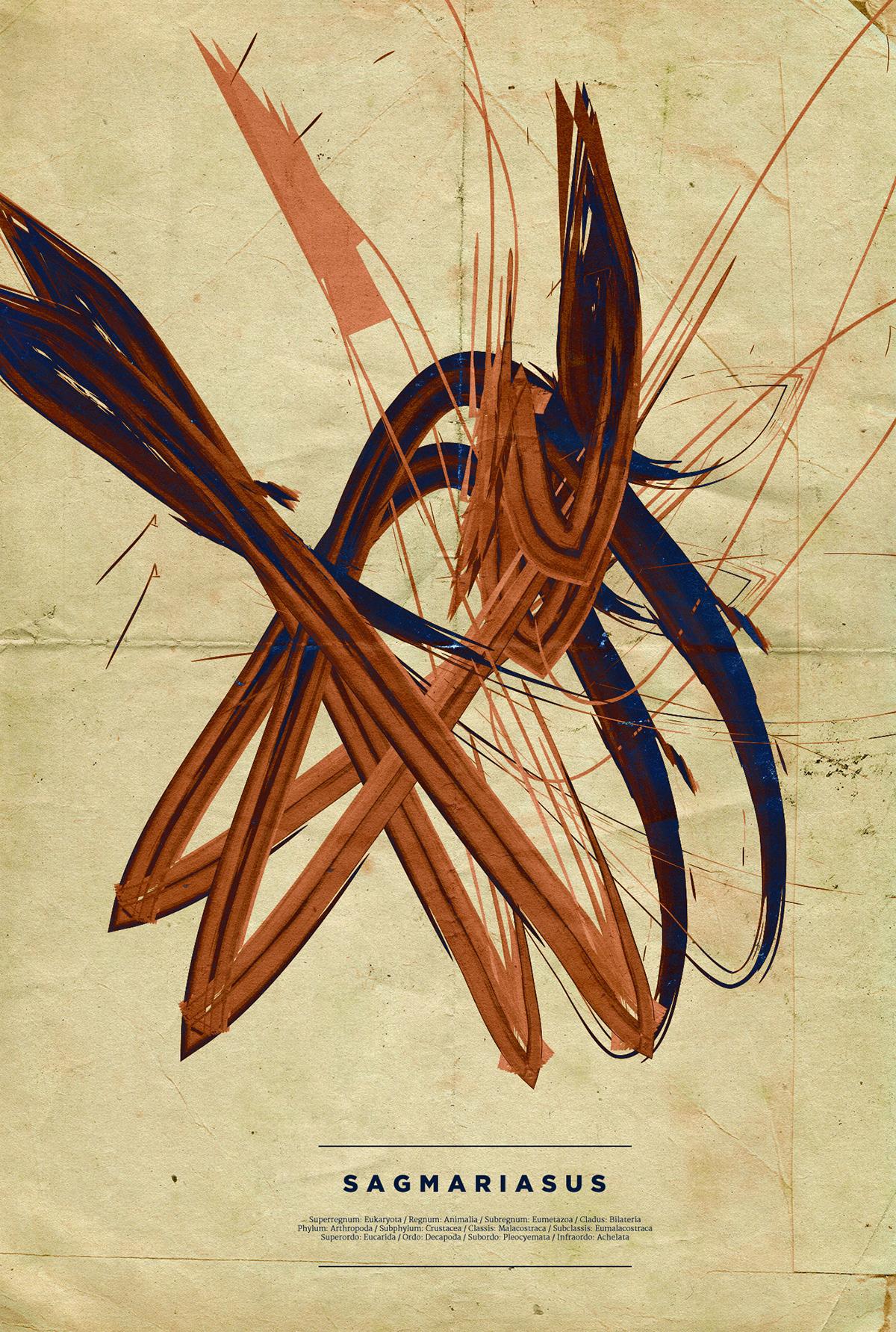 abstract brush figure creature
