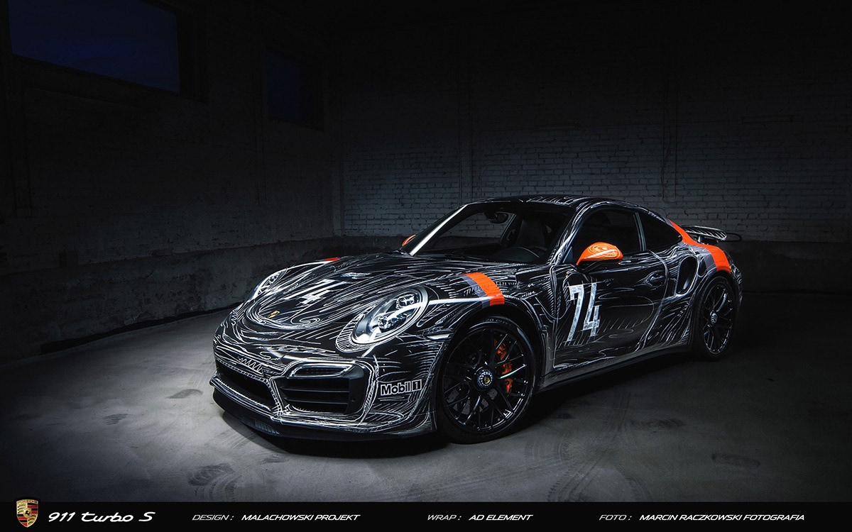 Car wrap design Porsche 911 turbo S , drawing on Behance