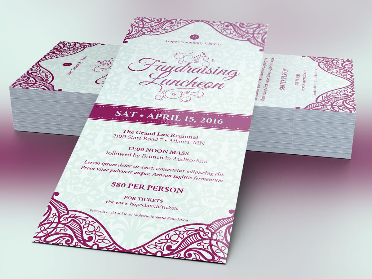 Fundraising Luncheon Flyer Template on Behance – Fundraising Ticket Template