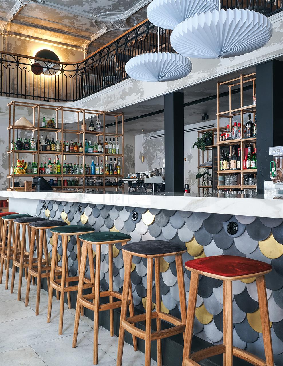 china restaurant bar wood Interior design art modernarchitecture tiles