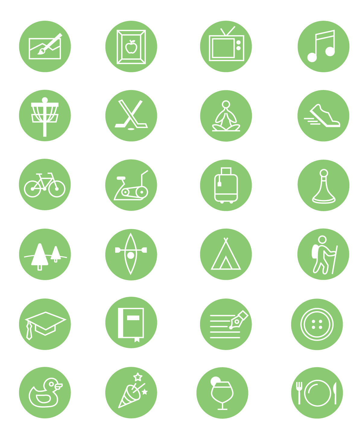 hobby icons on behance from disc golfing to entertaining these icons were done for team brightly to represent team members hobbies and personal interests