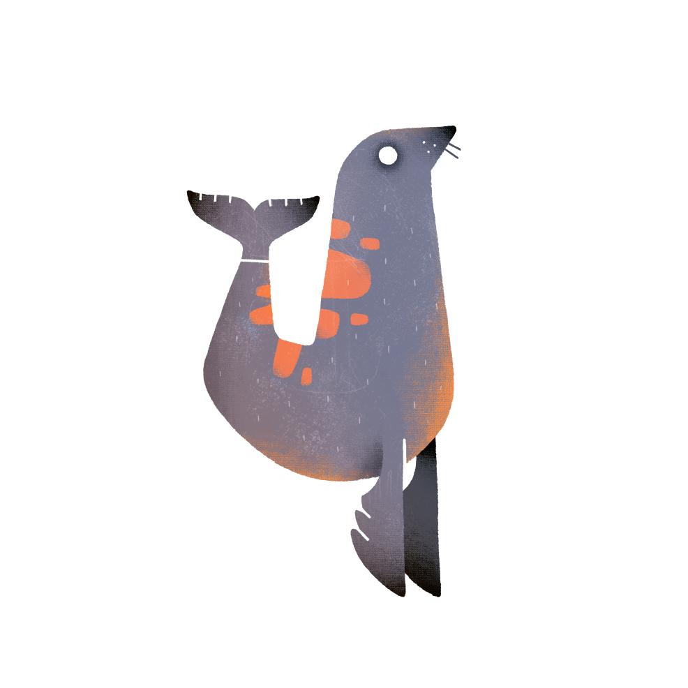 animal brush colorfull FOX ILLUSTRATION  Nature seal sticker texture