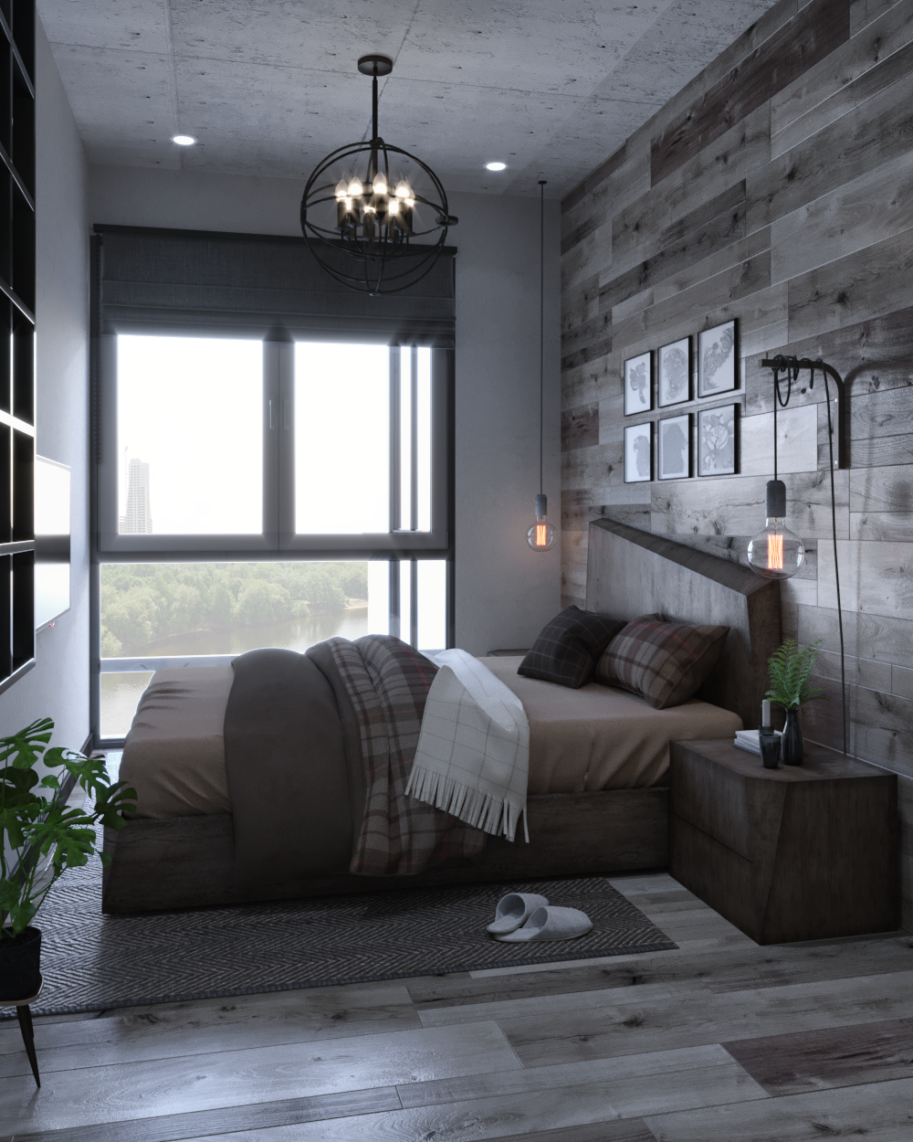 innovative industrial interior design bedroom ideas | Small Apartment | Industrial Interior Design on Behance