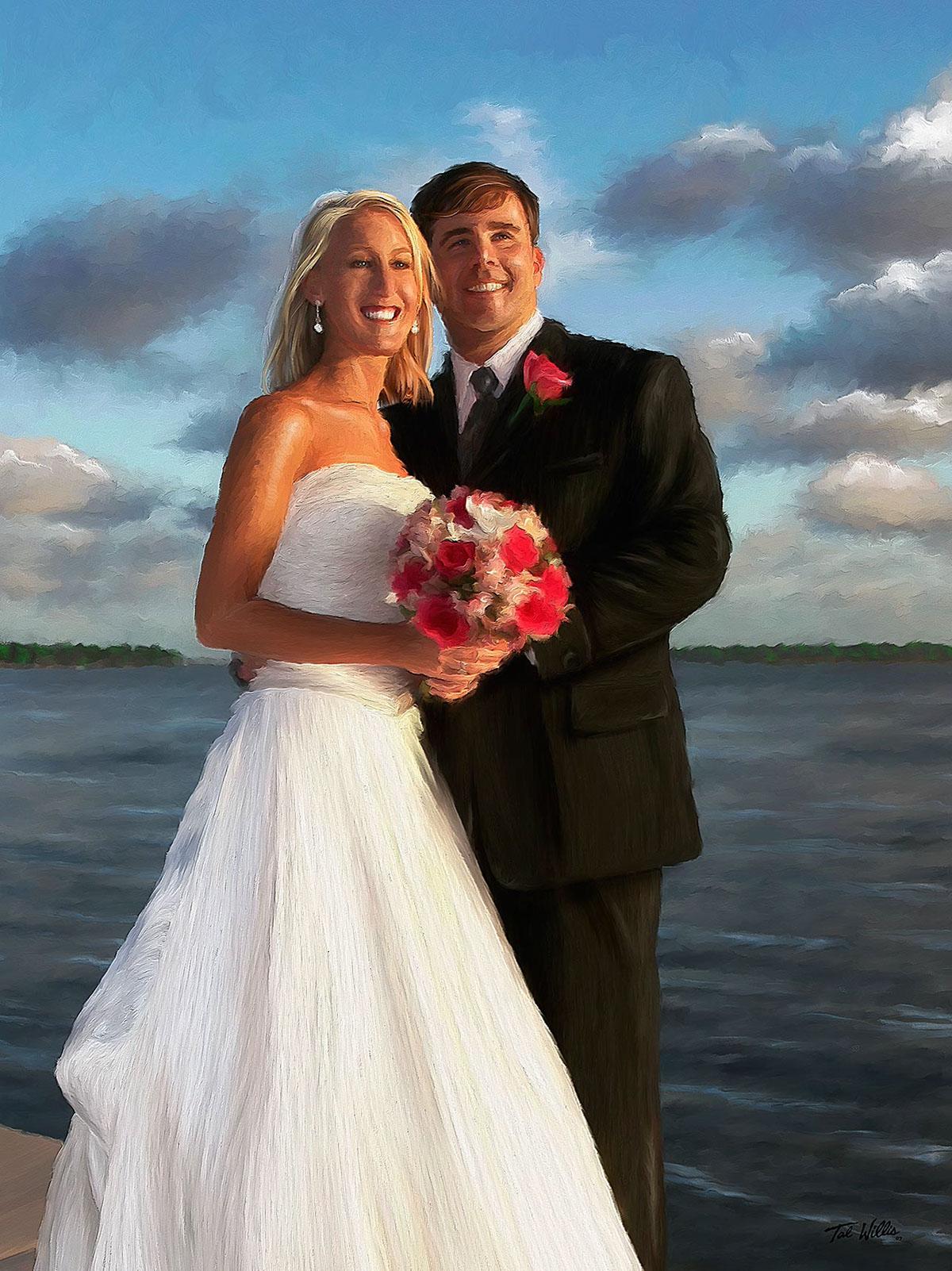 Custom Wedding Portraits wedding painting wedding photography florida jupiter island artists hobe sound artist wedding planners florida