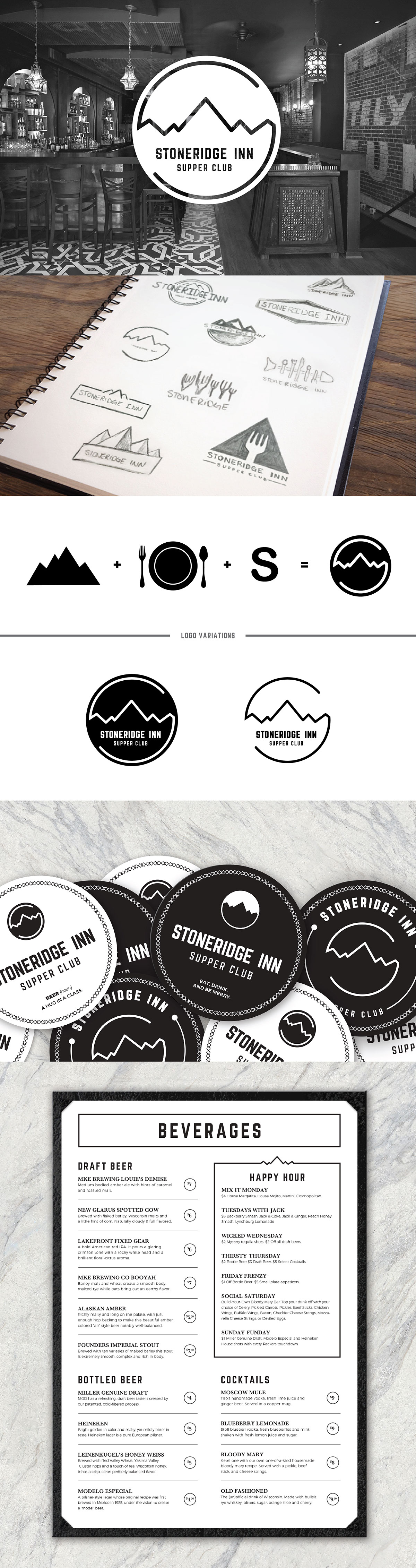 stoneridge supper club restaurant logo Coasters menu mountains black and white