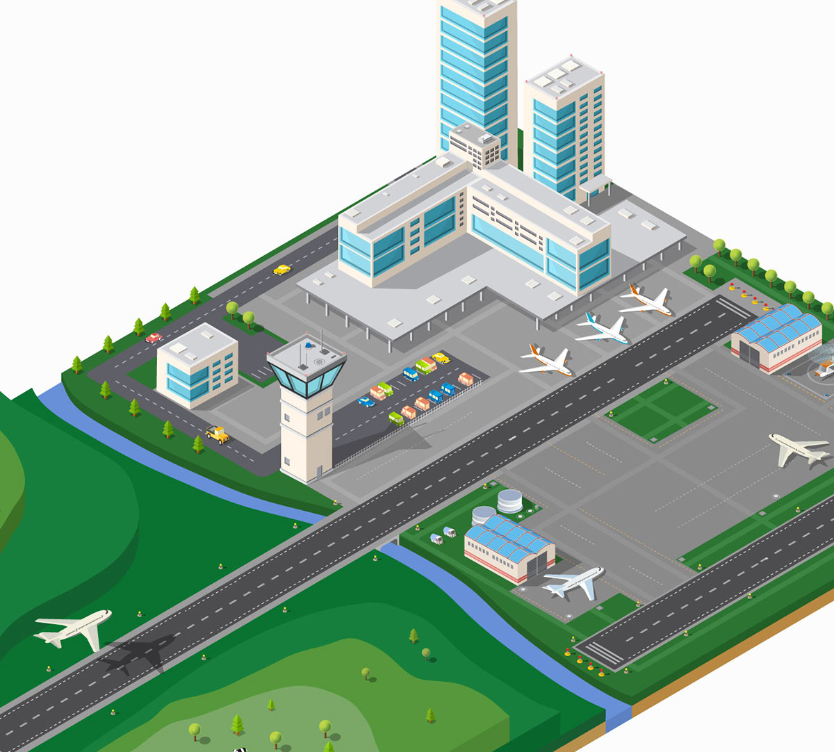 airport vector plane runway building Transport Fly Truck Isometric Travel Urban infrastructure airfield city Vehicle