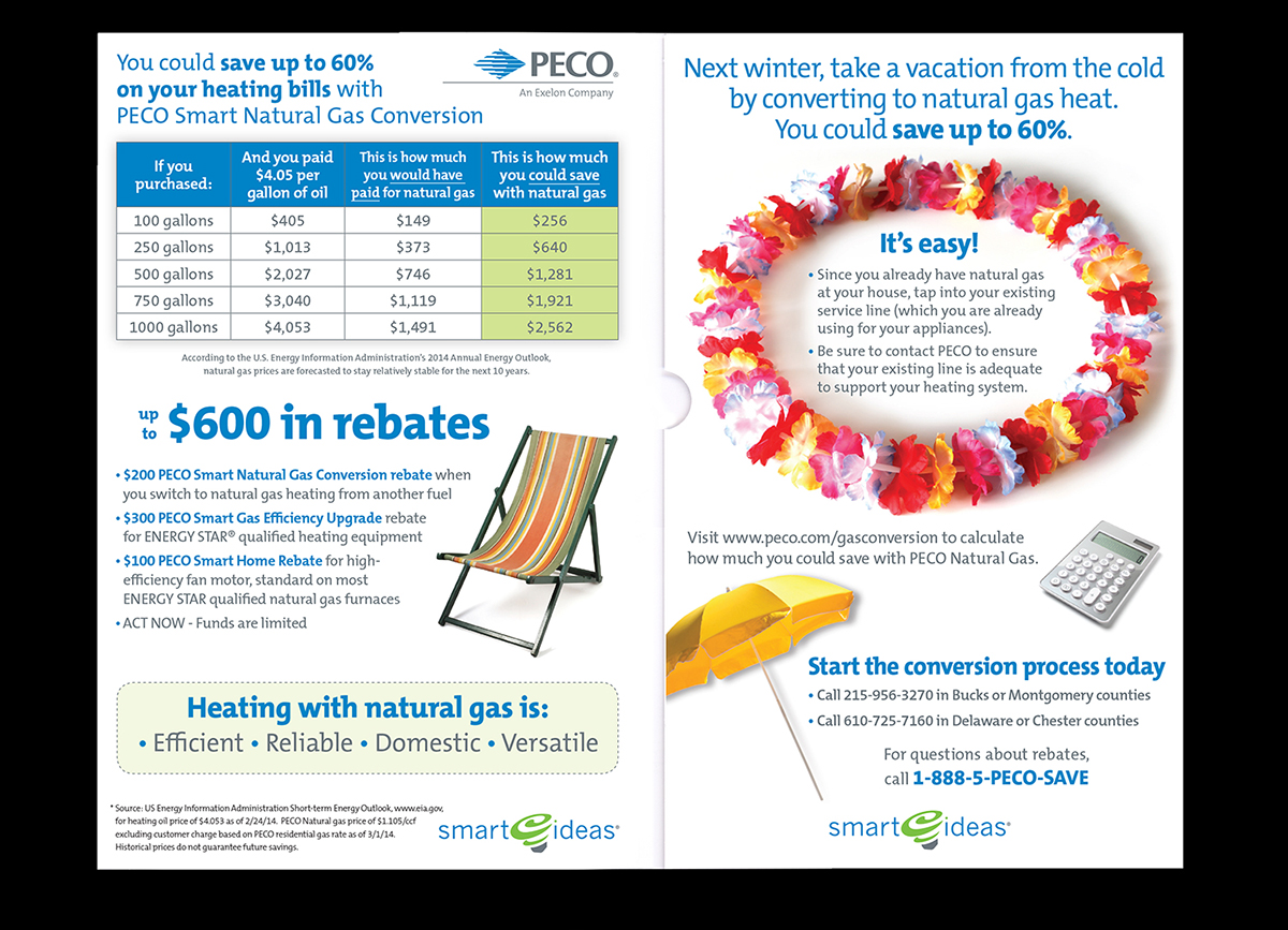 peco gas conversion direct mail on behance