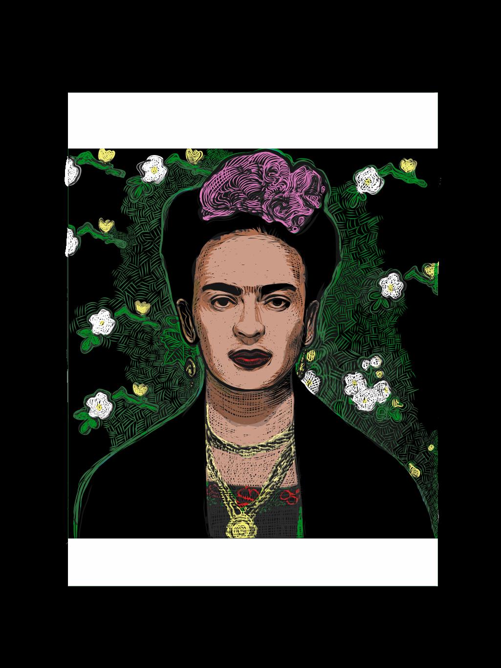 adobedraw frida artist hispanic feminist portrait vector art mexico kahlo diego rivera