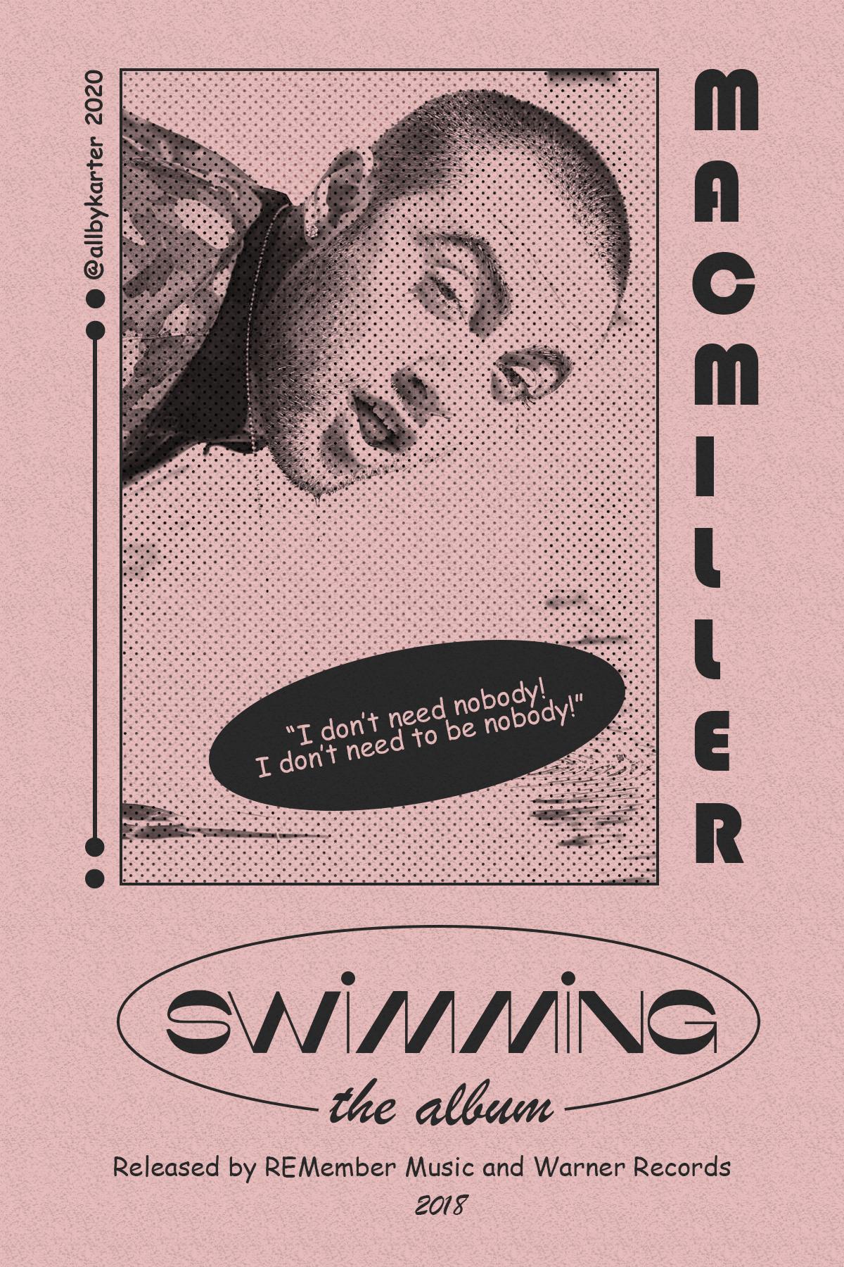 """Swimming - Mac Miller"" retro-themed poster."