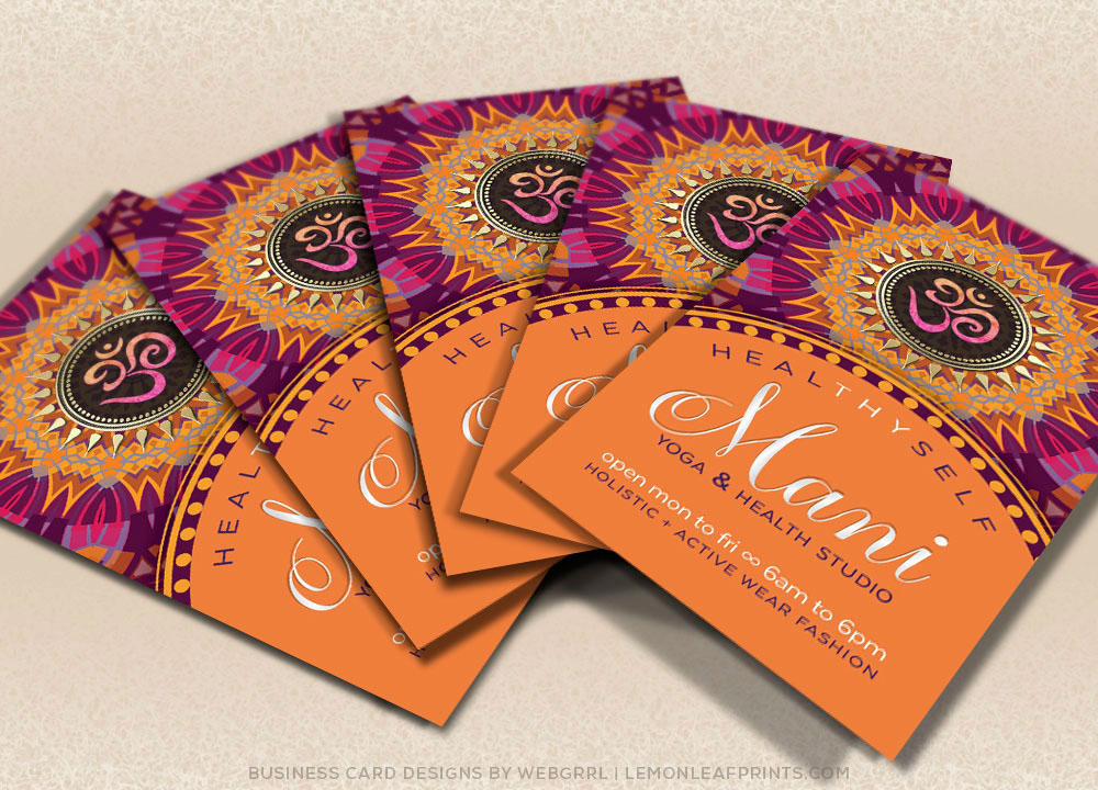Om yoga new age business cards on behance new age yoga business card fresh energy pink orange mandala colourmoves