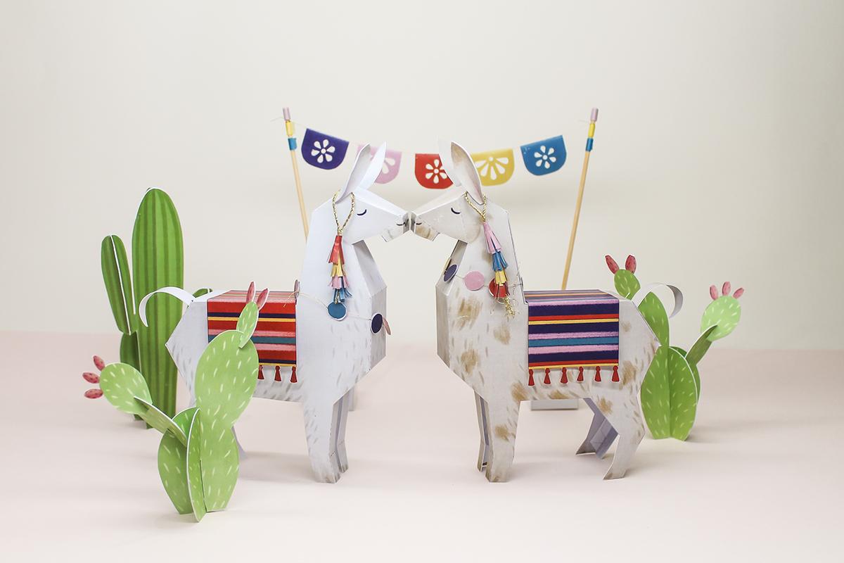 alpaca cactus cute design freebie LAMA llama paper art paper engineering papercraft