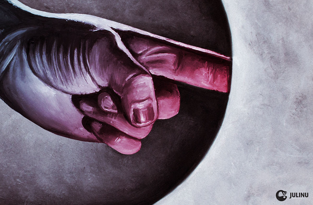 schlock schlock magazine julinu julian mallia malta finger Anger backfire surrealism surreal expressionist lighting Richard Tornello