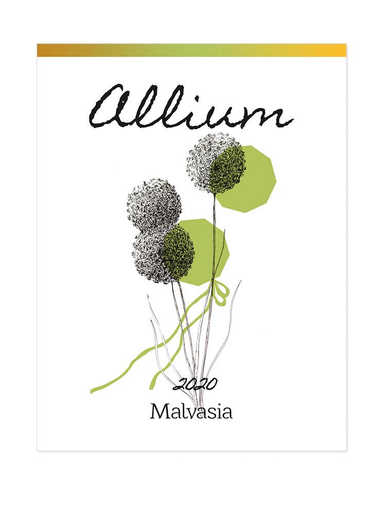 Allium wine label for Malvasia