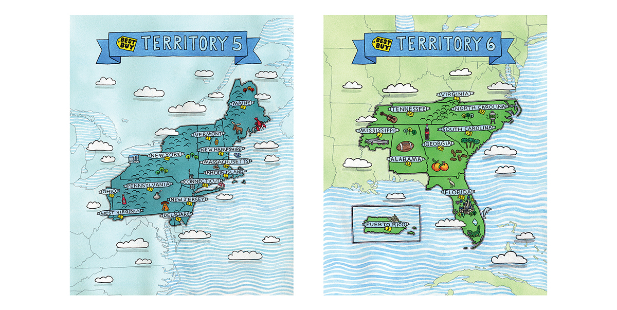 Best Buy Map Six Illustrated Territory Maps for Best Buy on Behance Best Buy Map