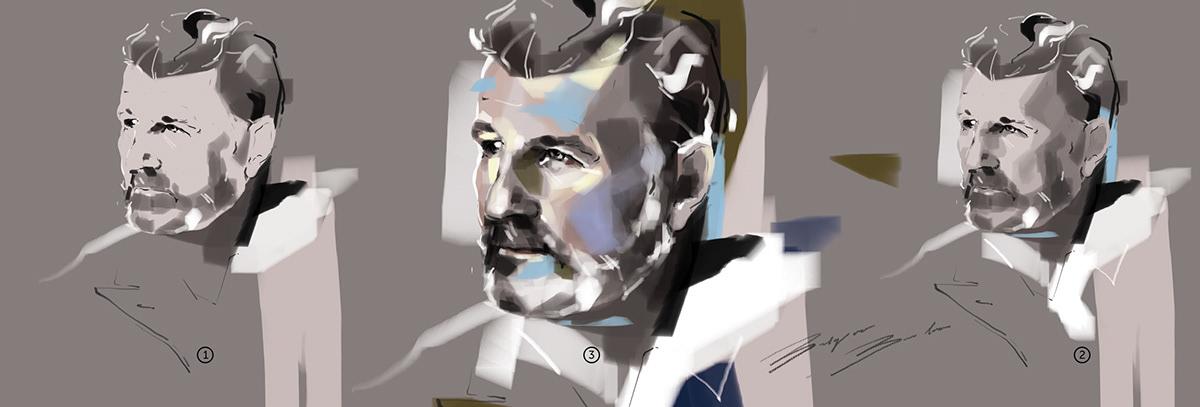 attractive blue elegnat Fashion  fashion illustration grey man painting   portrait progress