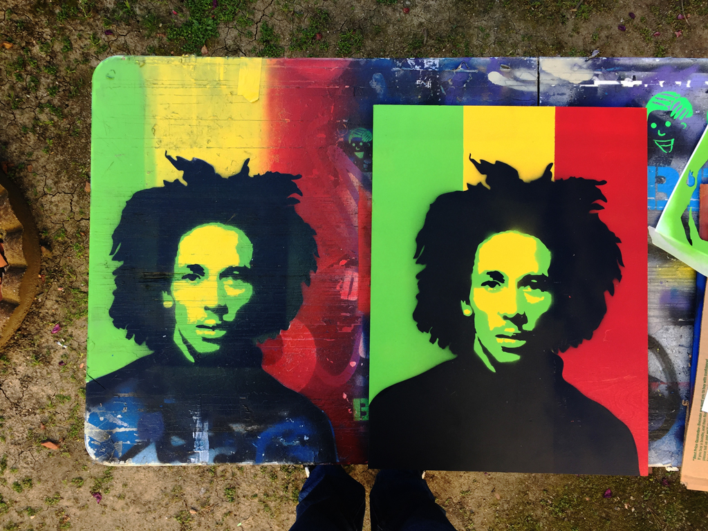 stencil spay paint Bob Marley
