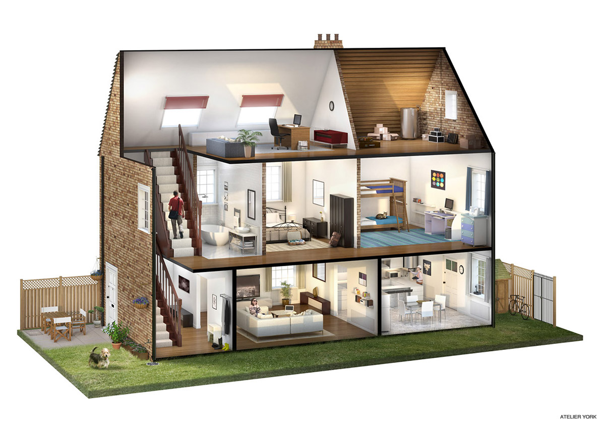 Picture Book Illustration Making An Architectural Model: Cutaway Illustration On Behance