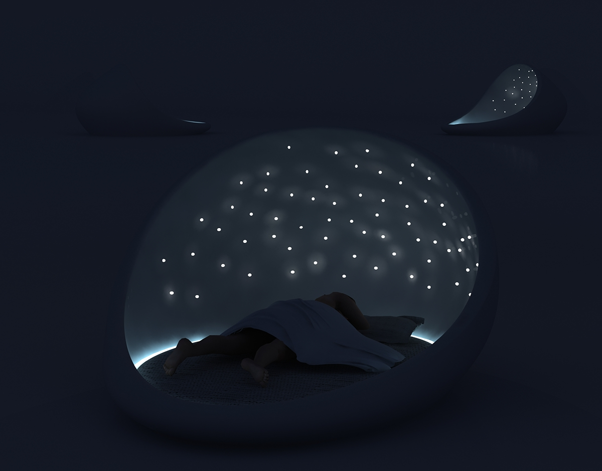 bed bedroom rumyantseva Bionic light cosmos bed design cool organic Space  future concept outer space biomorphic