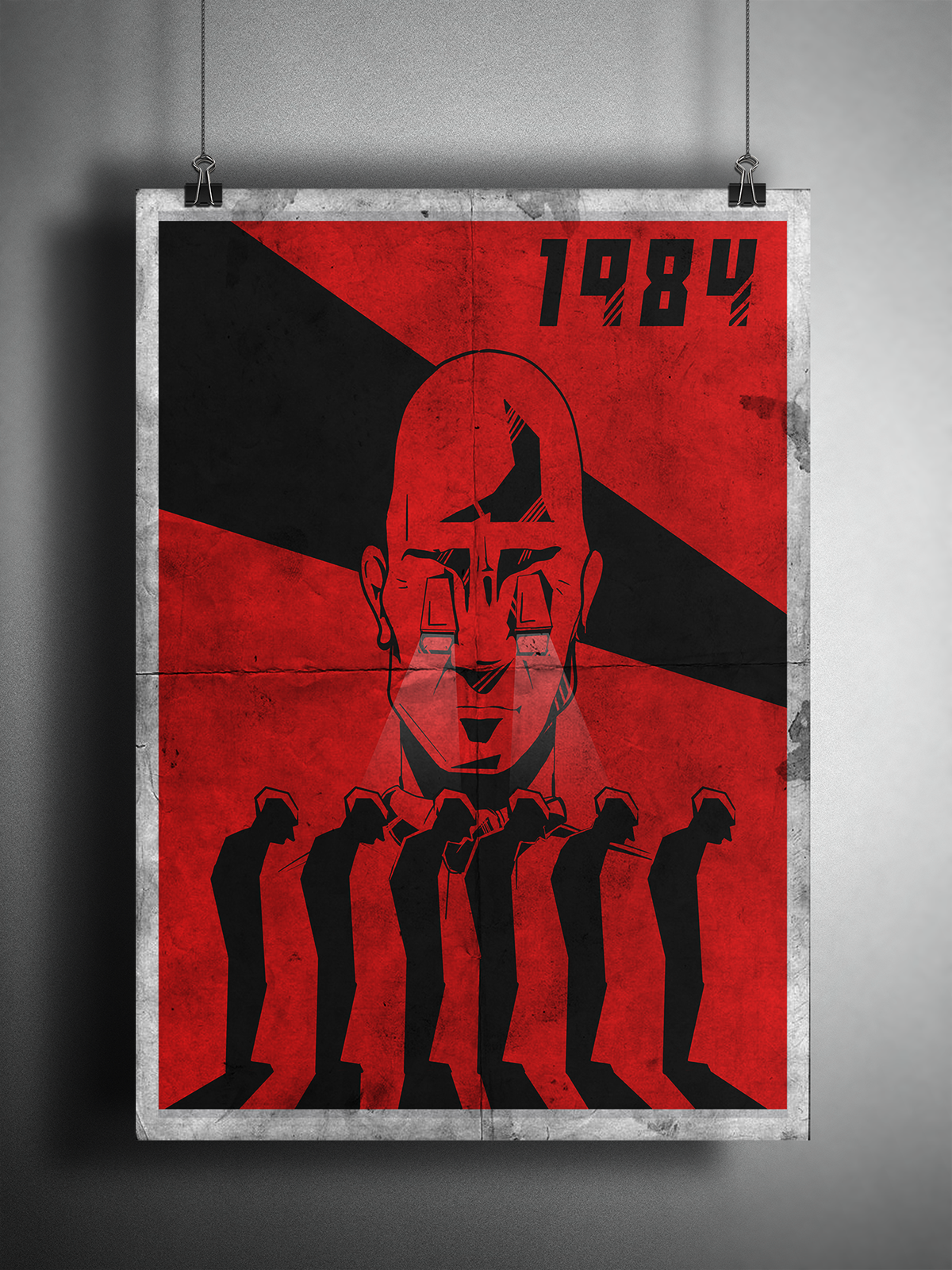1984 - Orwell George Orwell poster Poster Design graphic design  book design book cover big brother is watching you