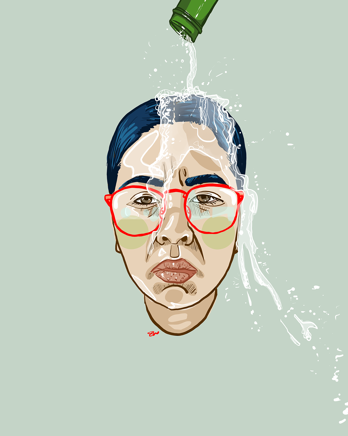 Self Portrait of Vietnamese American woman with champagne being poured over her