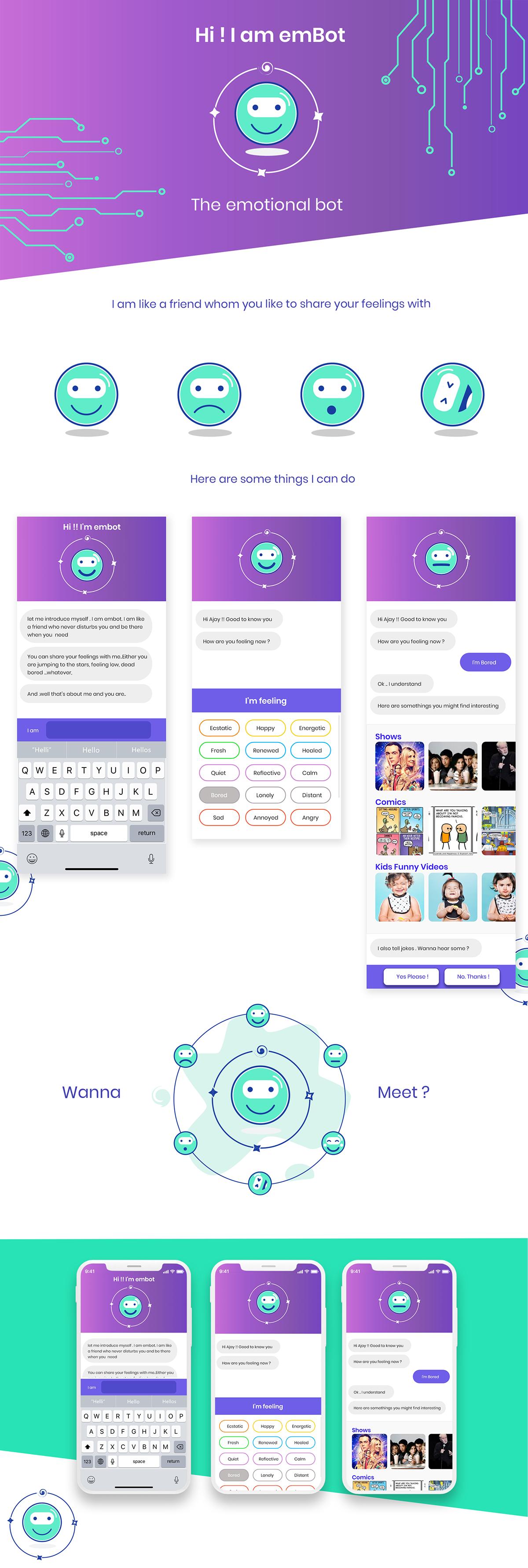 emBot - Emotional Bot - chatbot app concept on Behance