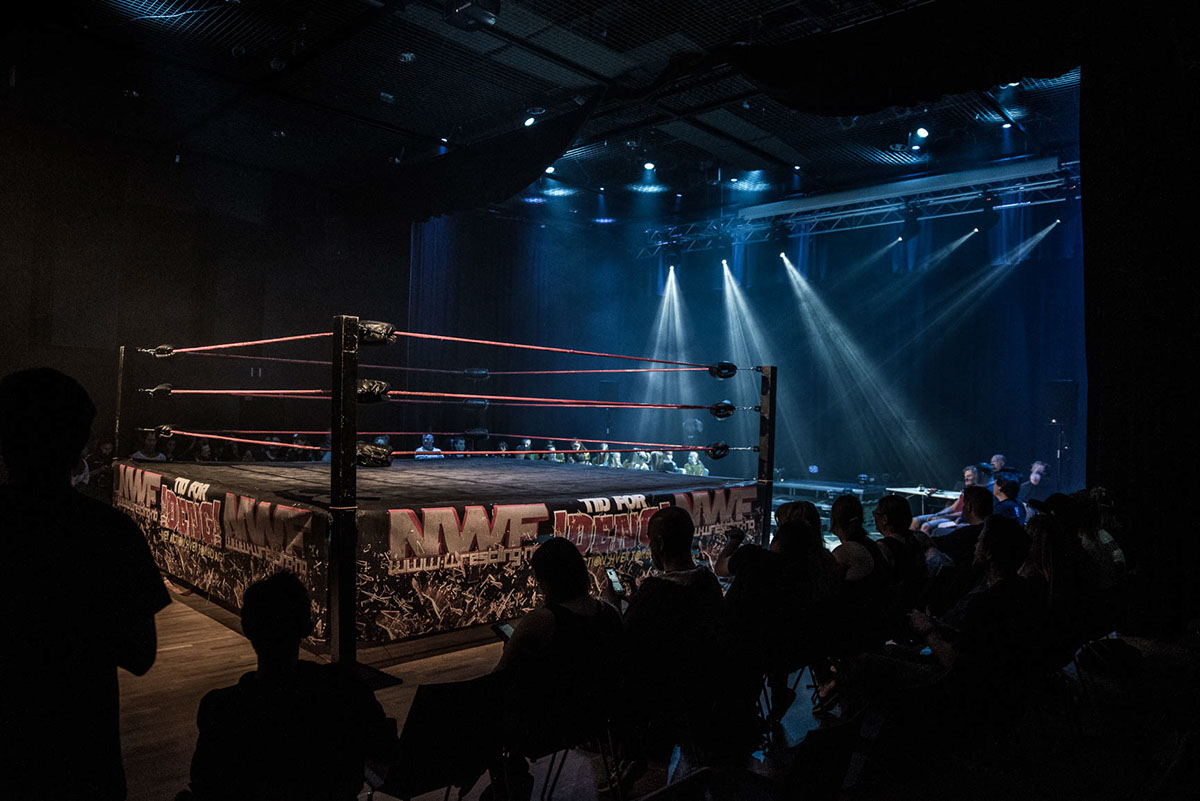 The goal of my lighting design was to create a wrestling arena which is open exciting and gives a  wow  effect - not being very intrusive and distracting. & Lighting Design: Norwegian Wrestling Association on Behance