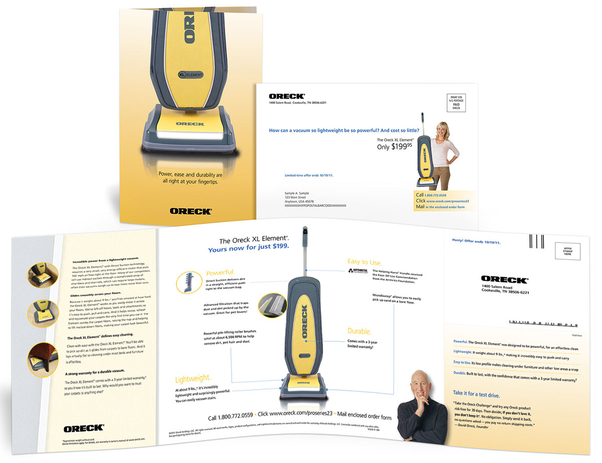 Oreck Clean Machine direct mail format test on Behance