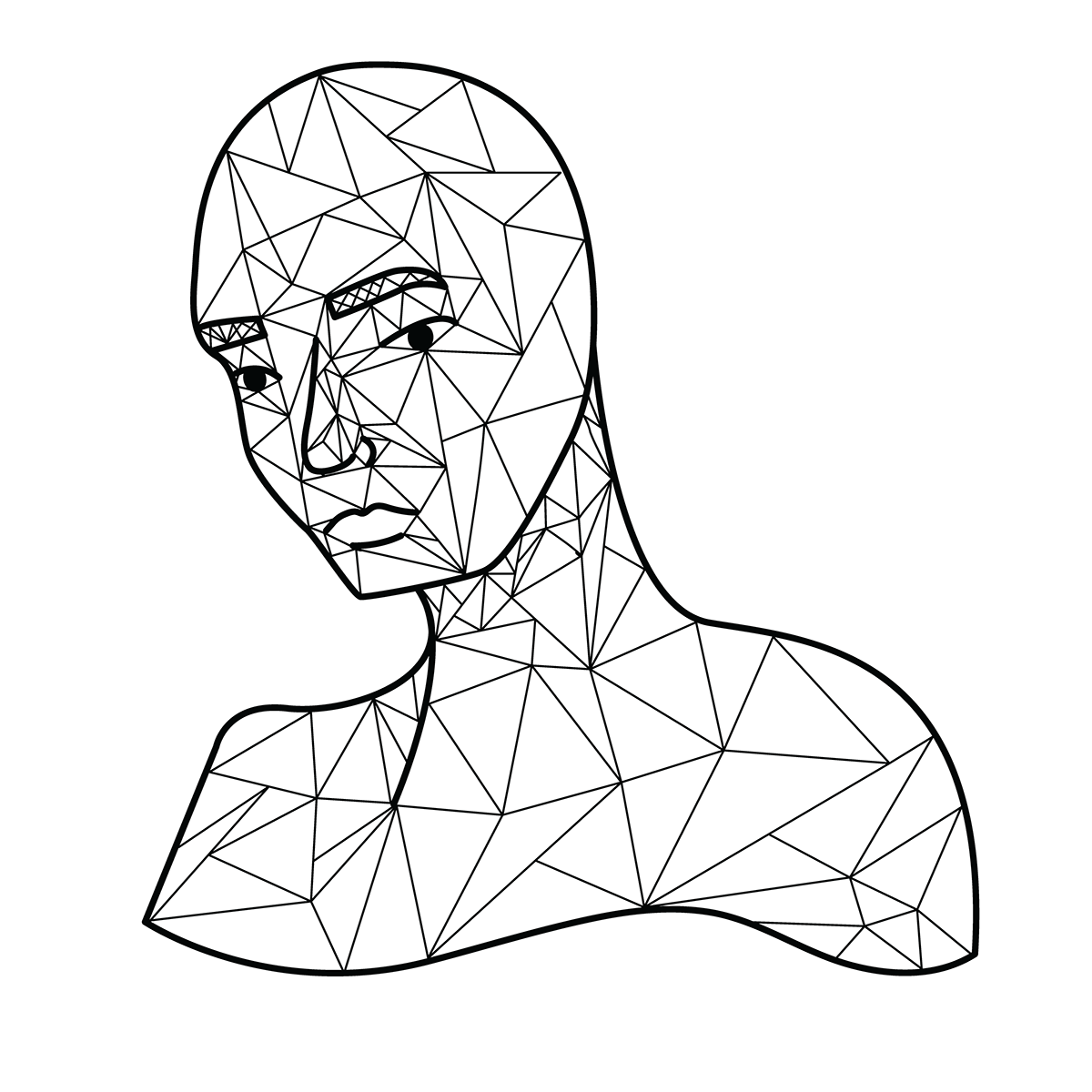 LOW poly polygon Triangles portrait doodle Drawing