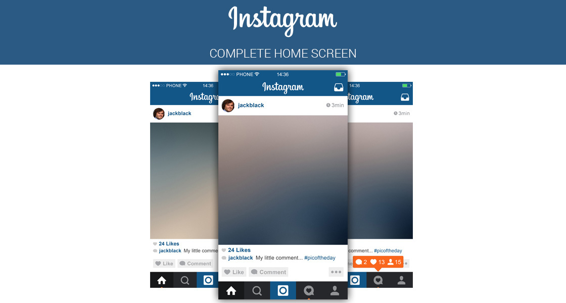 instagram layout psd free | instagram home screen psd layout on behance