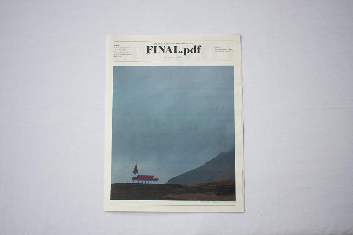 reflective journal newspaper Diary newsprint editorial design  editorial