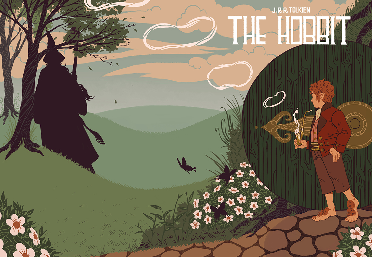 book cover jrr tolkien the Hobbit Lord of the rings