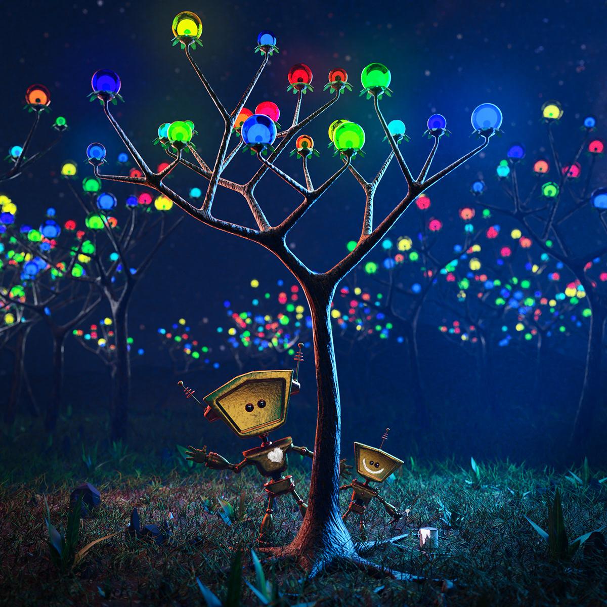 blender photoshop Digital Art  robot Tree  lights night colors Love paint