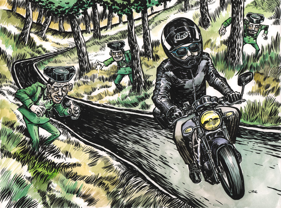 rider motorcycle road forest