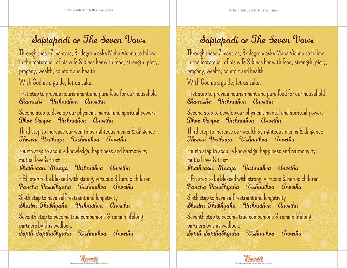 Saptapadi Seven Steps saptapadi or seven vows - printable on behance