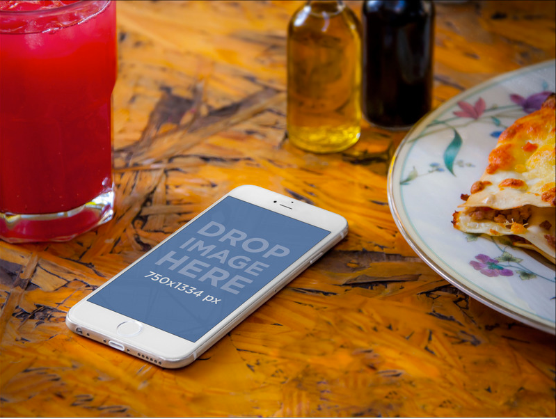 Iphone 6 Mockup On A Restaurant Table On Behance