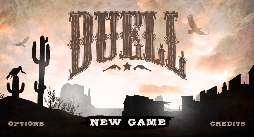 Interface game UI art concept vector Dungeon shoot cowboy wild west dessert duell skeleton
